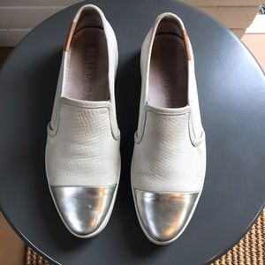 Silver tipped leather slides